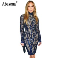 Abasona Women Sequin Dress Blue Sparkle Long Sleeve Evening Party Dresses Female Sexy Sequin Embroidery Knee