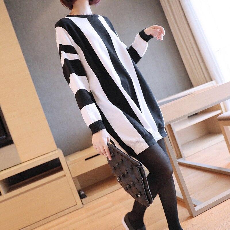 Printemps nouvelle robe mi-longue capuche lâche lâche paresseux printemps robe 2019 version coréenne de pull rayé