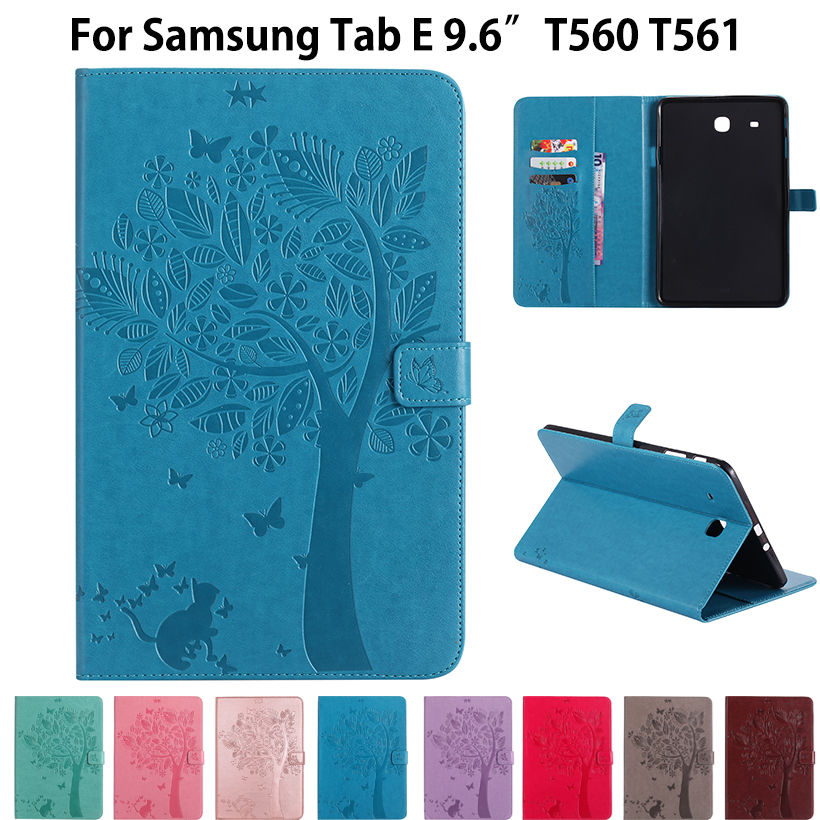 SM-T560 High quality PU leather Stand Case For Samsung Galaxy Tab E 9.6 inch Cover T560 T561 SM-T561 Funda Tablet Flip Cases cute pet cat stand cover for samsung galaxy tab e 9 6 sm t560 sm t561 tablet case funda for samsung tab e 9 6 t560 leather cover