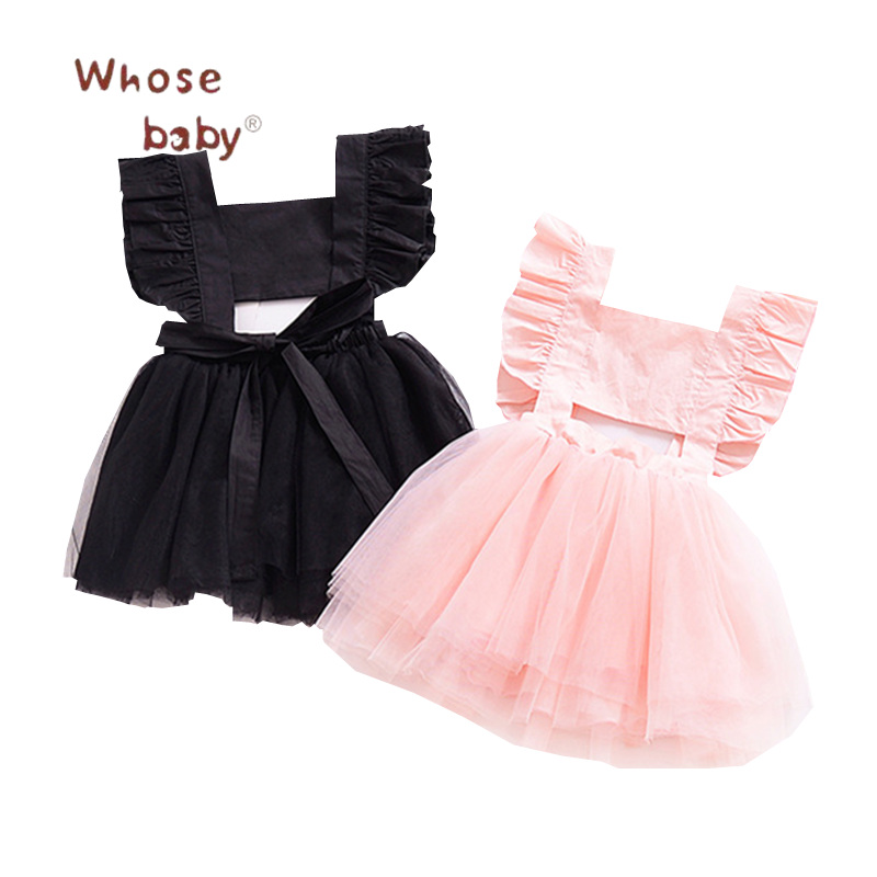 Baby Girls Flying Bow Tutu Dress Baby Backless Princess Tulle Dresses for Toddler Girl 2018 Summer Kids Fashion Newborn Clothes