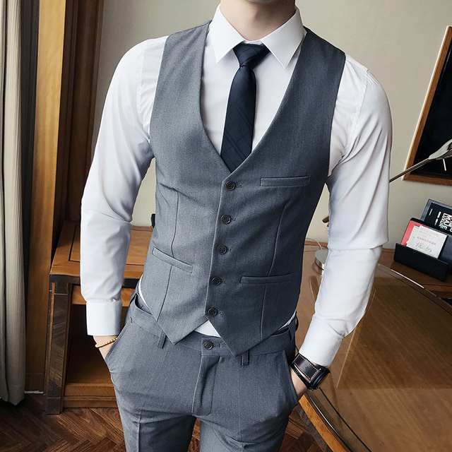 1aee88a7193 Pure Color Mens Formal Suit Waistcoat