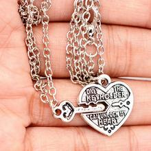 imixlot 2Pcs/Set Best Friends Necklaces For Lovers Gift Classic Heart Key Lock The Key holder Can Unlock Lovers Pendant Necklace classic heart pendant