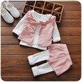 Conjunto de Roupas Meninas do bebê da Mola 2 Cor Crianças Roupas Conjuntos de Roupas Da Menina Da Criança Set/3 pcs