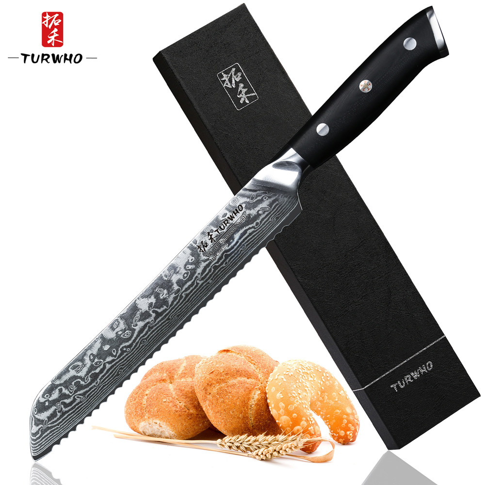 TURWHO 8 inch Bread Knife 67 layers Damascus Stainless Steel Kitchen Knife High Quality VG10 Cake