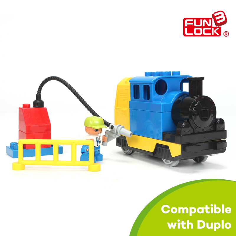 Funlock Duplo Toys Train Gas Station Building Blocks Set Railway Assemble Bricks Part Educational Gift Present for Kids Children 2016 kids diy toys plastic building blocks toys bricks set electronic construction toys brithday gift for children 4 models in 1