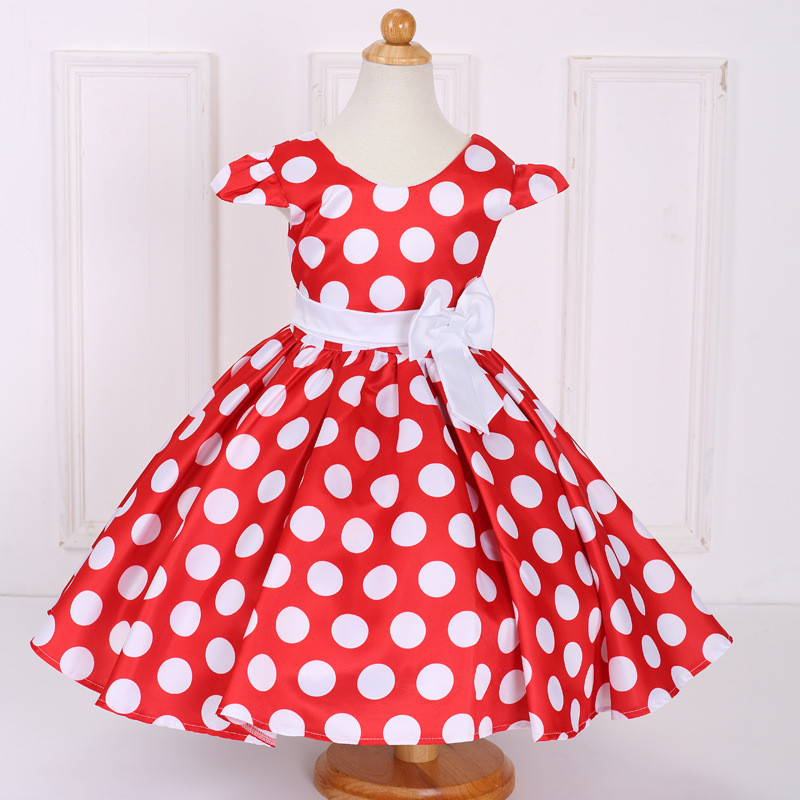 Hot Sale Christmas Super Flower Girls Dresses for party and Wedding Dot Print Princess Kids Dress Fashion Children's Clothing hot sale flower girls lace dresses for party and wedding lovely princess kids dress fashion children s clothing free shipping