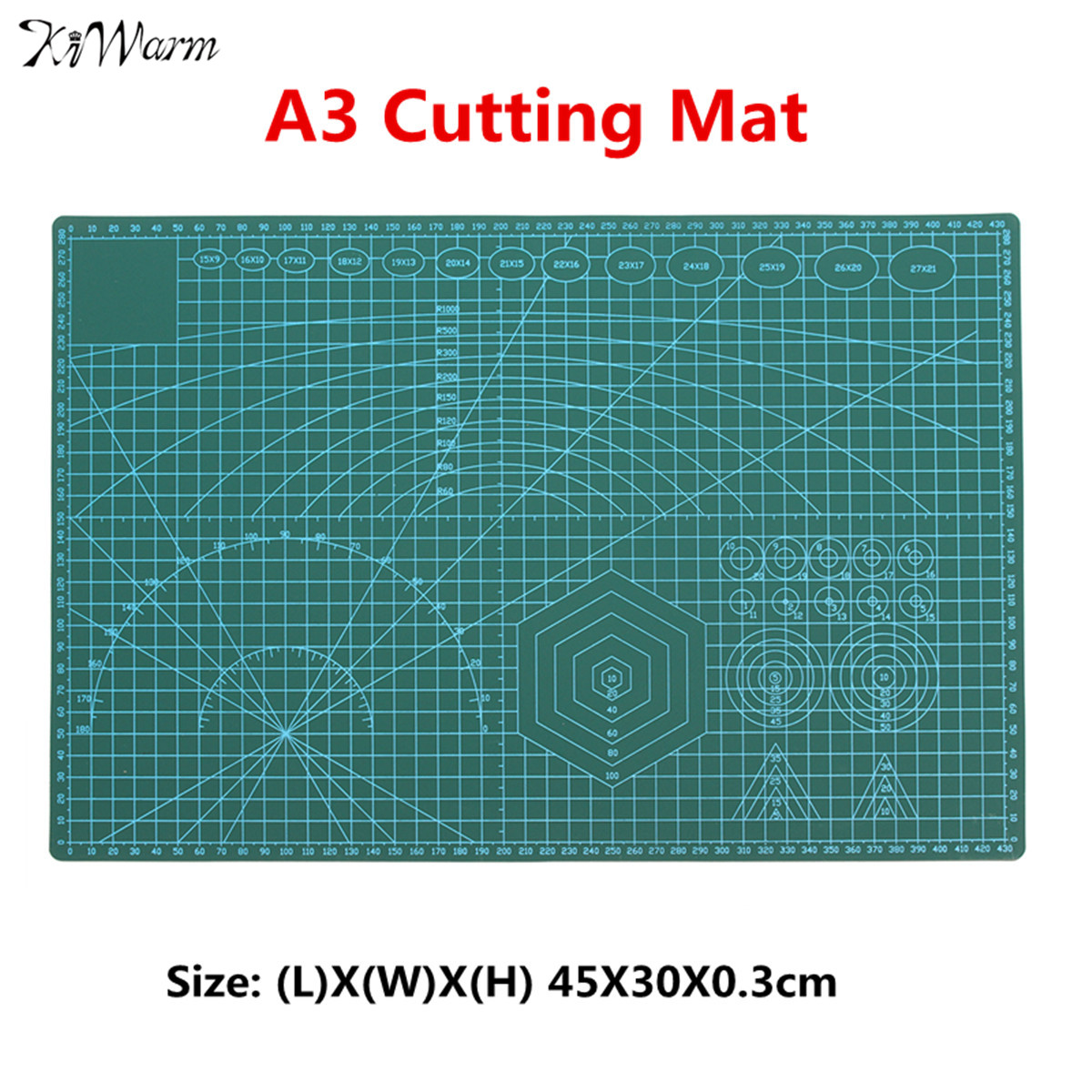 KiWarm Useful A3 Plastic Non Slip Professional Cutting Mat Patchwork Double Sided Cutting Plate for Leather Fabric Paper CraftKiWarm Useful A3 Plastic Non Slip Professional Cutting Mat Patchwork Double Sided Cutting Plate for Leather Fabric Paper Craft