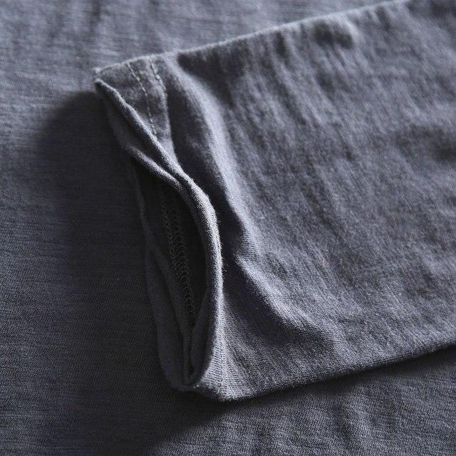 Zecmos Long Sleeve Men T-Shirt V Neck Male T Shirt Cotton Fashion Top Tees Slim Fit 4
