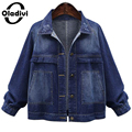Oladivi Women Short Jackets 2016 Autumn Casual Blue Slim Pockets Button Single Breasted Female Denim Coat 2017 Spring Plus Size