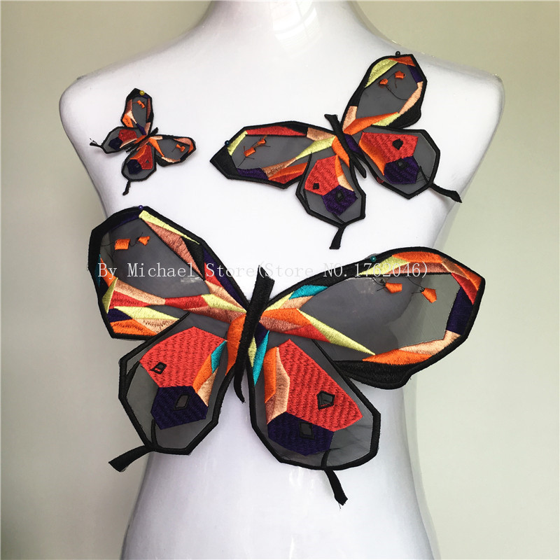 1 Set Organza Färgglada Butterfly Patch Sewing-On Diy Broderade Patches Motiv Applique För Kläder Väskor Klistermärken Tillbehör