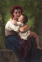 The LIttle Hug by William Bouguereau Handmade Oil painting reproduction artwork