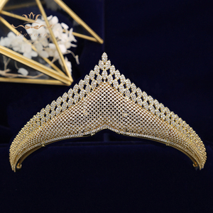 Image 4 - Top Quality Gold Sparkling Luxurious Full Zircon Tiaras Crowns For Brides  Crystal Hairbands Wedding Hair Accessories