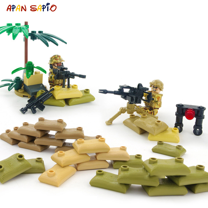 Action Figures Building Blocks Military Special Forces Soldiers Sandbag Bricks Figures Weapons Armed SWAT Compatible With Brands