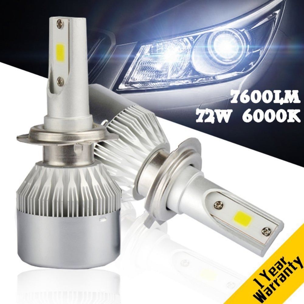 12V 2Pcs H4 LED H7 H11 H8 9006 HB4 COB S2 Auto Car Headlight 72W 8000LM High Low Beam Bulb All In One Automobile Lamp 6500K