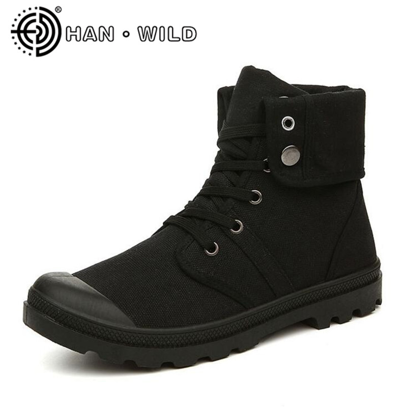 Spring Autumn Men Canvas Boots Army Combat Style Fashion High Top Military Ankle Boots Men's Shoes Comfortable Casual Shoes