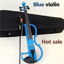 Hohe qualität, Blau 4/4 violine Senden geige Fest fall, Handgemachte weiße elektrische violine mit stromleitungen und violine teile