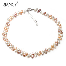 Fashion Multicolor Pearl Necklace Natural Freshwater 925 Sterling Silver Jewelry For Women pearl Gift