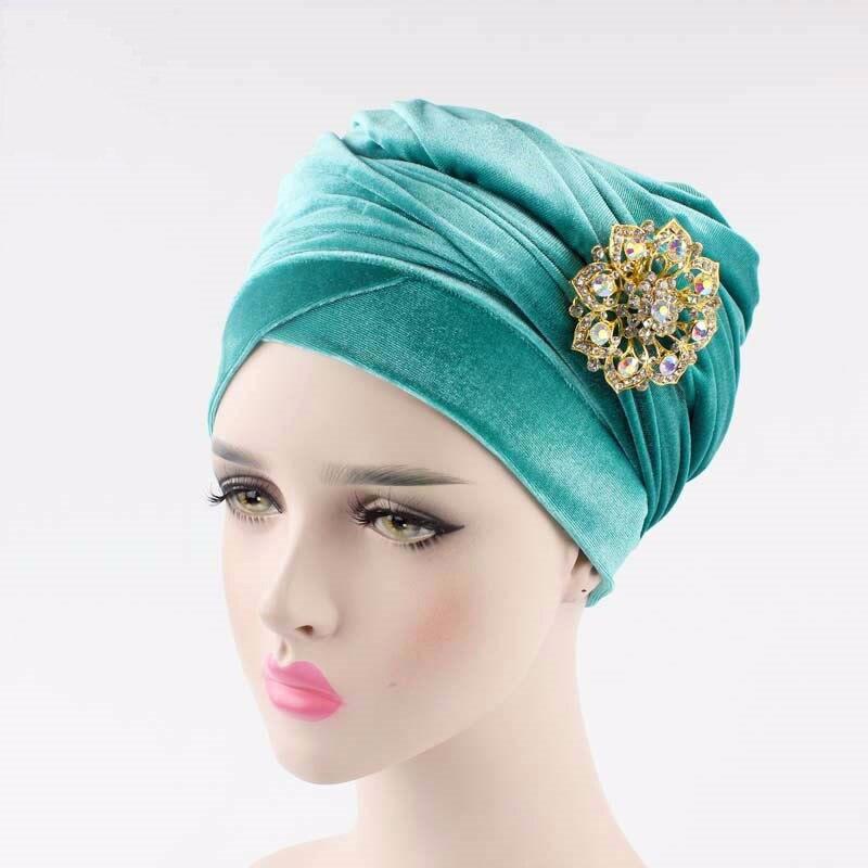 2019 Hot Sale Muslim Women Luxury Hijab Velvet Turban Head -3345