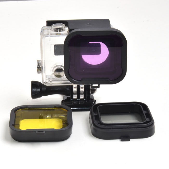 Purple Red Gray Yellow filter 4pcs/lot Lens Filter Diving Filter Gopro HERO 3+ 4 Camera Housing Case Underwater Lens Converter 6