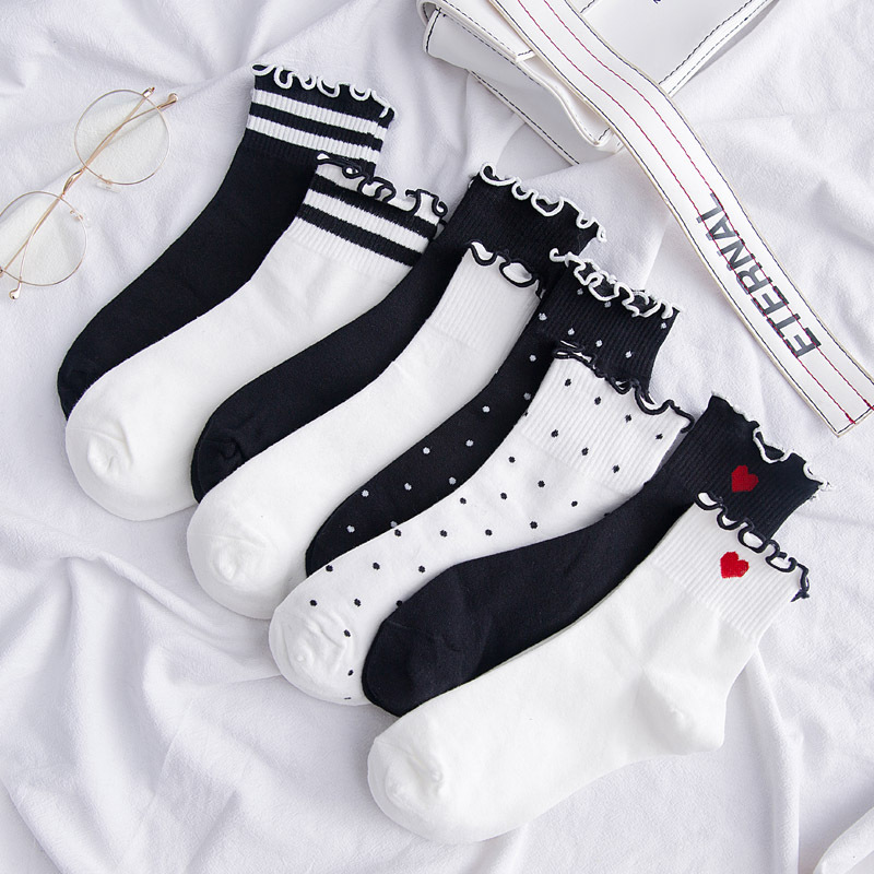 Women Socks Autumn Striped Heart Cotton Solid Color Lace Cute Dots Casual Breathable White Women Fashion Lady Socks 1 Pair