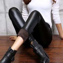 Sexy Womens Faux Leather Velvet Matte Leggings Winter Warm Skinny Pencil Pants