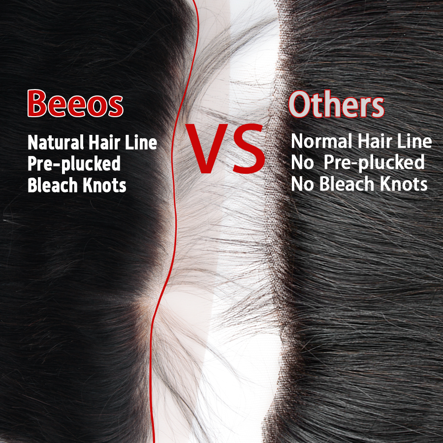 Image 3 - Beeos Deep Part Ear to Ear 13x6 Lace Frontal Closure 8 20inch Brazilian Remy Human Hair Frontal Pre Plucked Bleached Knots-in Closures from Hair Extensions & Wigs