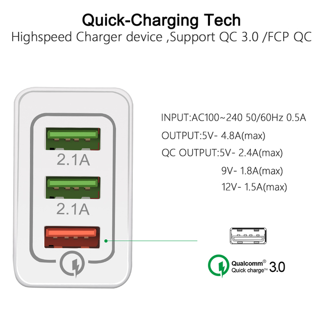 USB Quick Charge 3.0 Phone Charger with Three Slots