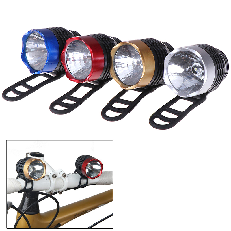 New LED Head Front Bicycle Lamp Bike Light Headlamp Headlight Bicycle Lights Lamp Outdoor Cycling Battery Rubber Ring Included