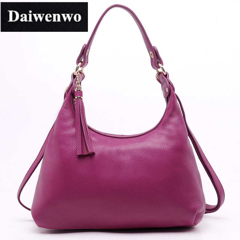 J36 100% Genuine Leather Tassel Women's Handbag Ladies Shoulder Bags Satchel Purse Crossbody Tote for Female Gift 4 Solid Colors 3 bag set girls patent leather handbag and purse solid colors ladies desinger bags classic woman s handbag female shoulder bags