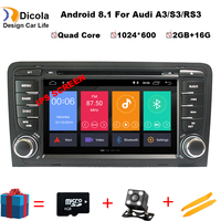 IPS HD 2 Din Car Multimedia Player GPS Android 8.1 DVD Automotivo For Audi A3 8P/A3 8P1 3 door Hatchback/S3 8P/RS3 Sportback