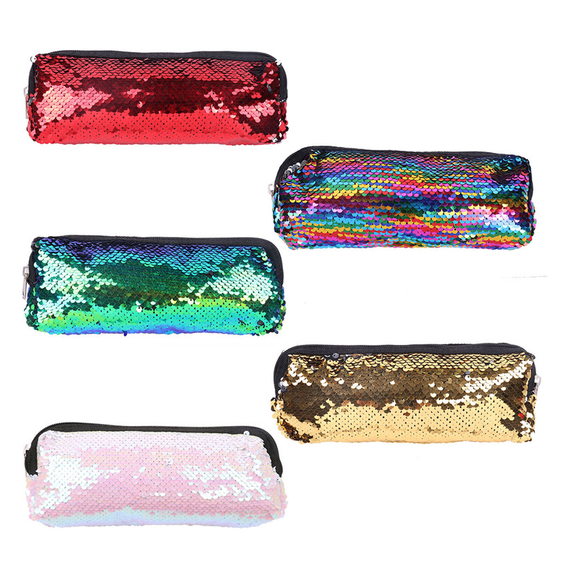 New Fashion Magic Mermaid Sequin Makeup Bag Cosmetic Pouch Sparkle Reversible Double Color Handbag Glitter Students Pencil Cases