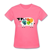 Newest Women Fun T Shirts Colorful Cow Luxury T Shirt Cartoon Novelty Short Sleeve Womens Tee
