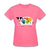Newest Women Fun T Shirts Colorful Cow Luxury T Shirt Cartoon Novelty Short Sleeve Womens Tee