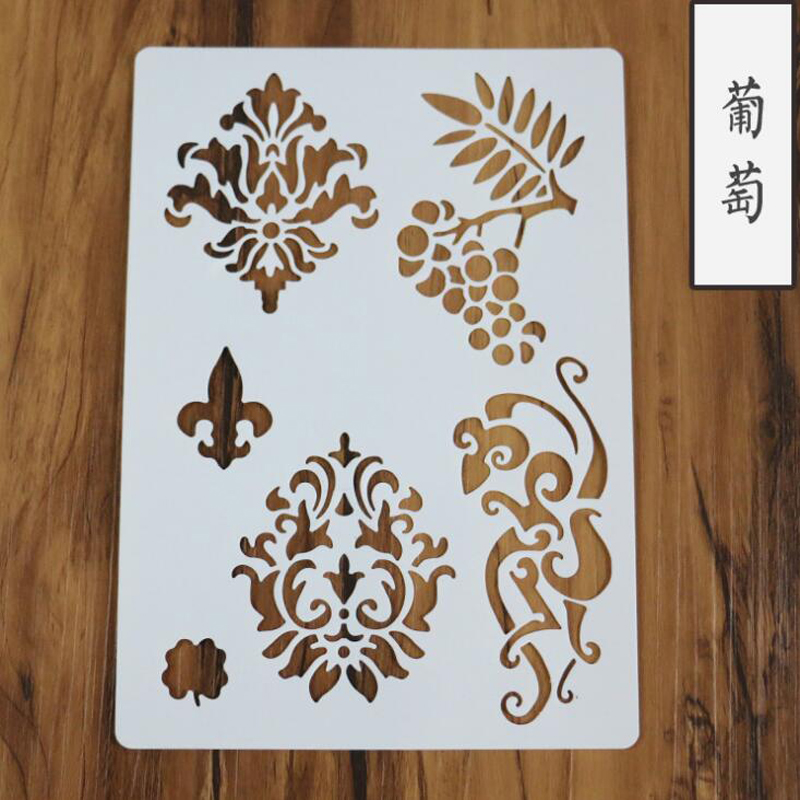 1pc Stencil Templates Grape Totem Crafts For Wall Graphics Painting Scrapbooking Stamp Ornament Album Embossed Template Reusable