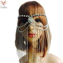 Liujee KD136 потрясающий роскошный камень kundan модные женские туфли с кисточками в стиле панк Глава металла Сеть ювелирных лоб Хэллоуин маска