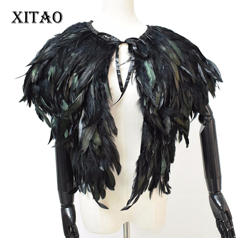 [XITAO] New Winter Fur Coat Short Paragraph Feather Vest Waistcoat Vest Shawl High-grade Natural Feathers WPA-002