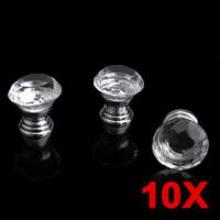 10Pcs Crystal Glass Knobs 30mm Multiple Reflective Diamond Shape Kitchen Cabinet Knob Drawer Pull Handle Knobs