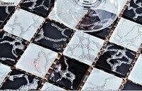 ブラックホワイト3dステッカークリスタルガラスモザイクタイル用キッチンbacksplashの装飾浴室シャワーモザイクタイル壁カバー、LSMR04