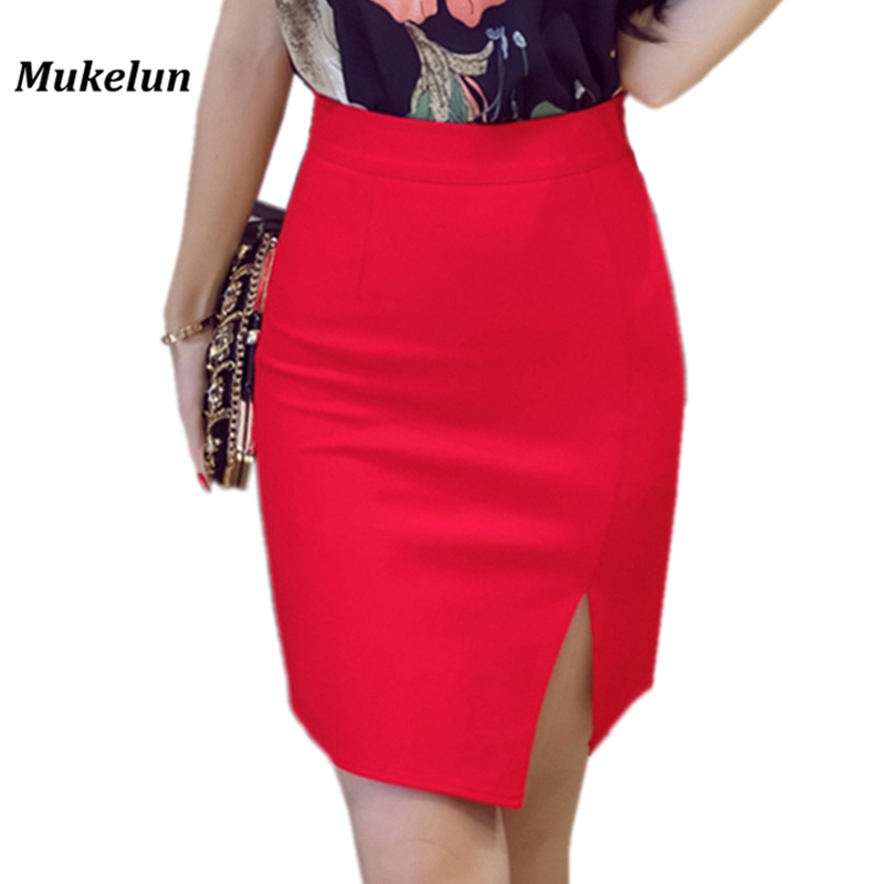 Plus Size Women's Skirt Shorts Summer 2018 Fashion Sexy High Waist Formal Work Office Black Red Ladies Mini Pencil Skirt Female