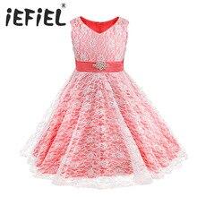 IEFiEL ילדים שמלת ילדה צד פורמלי כדור שמלת תחרות שמלת סיום בנות בנות בנות פרחי התחרה ריינסטון פרחים לחתונה 16Y
