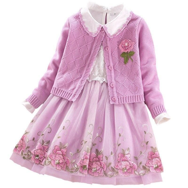 Girl Winter Dress 2018 Autumn Kids Dresses For Girls Pullover Knitted Sweaters Dress Princess Flower Children Dress Clothing