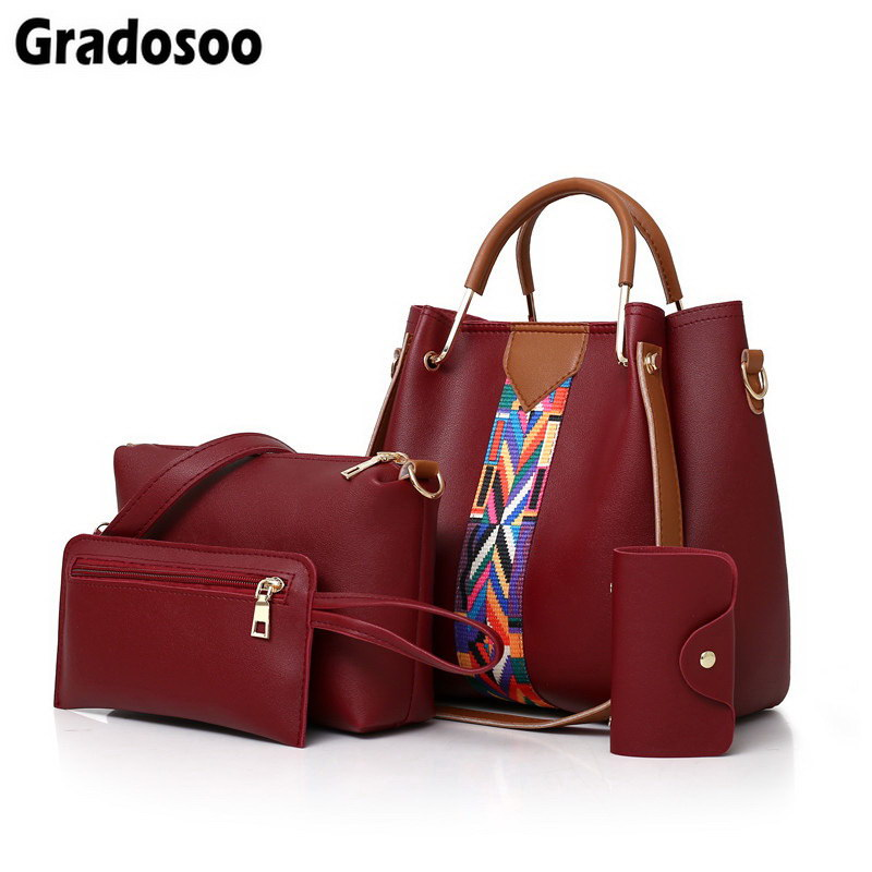 Gradosoo 4 Pcs/set Women Handbag Messenger Bags For Ladies Fashion Shoulder Bag Lady PU Leather Casual Shopper Tote Bags LBF435