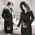 2016 nuevo invierno chaqueta de las mujeres medio-largo engrosamiento cuello de piel delgada de buena calidad a prueba de viento nieve pato abajo cubren a la hembra prendas de vestir exteriores
