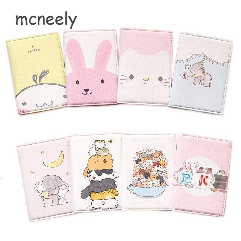 Mcneely Cartoon Leather Passport Cover Case Kid Travel Passport Holder Bag Girl Business Card Holder Purse Retro Card Wallet