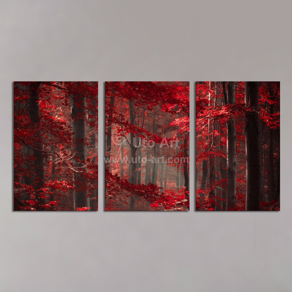 Cheap framed 3 panel wall art painting red enchanted forest giclee prints wall pictures canvas art paintings for living room