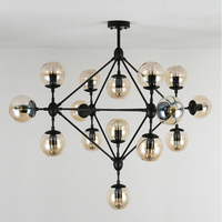 Create Magic Beans DNA Lustres Wrought Iron Industrial Cafe Project Lamps Nordic Art Deco Glass Ball