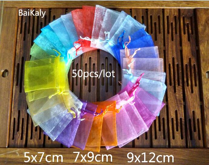 50pcs/lot Organza bag  5x7cm/ 7x9cm/ 9x12cm  Wedding Christmas Birthday Party Gift Bags A variety of solid colors pouchs