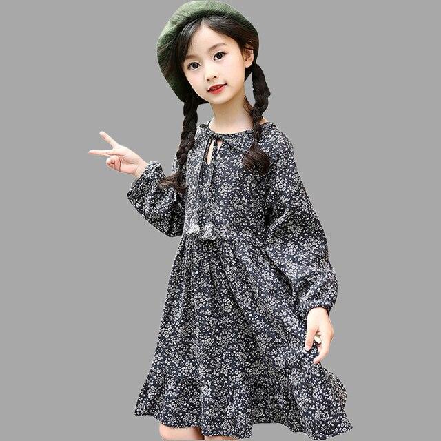 Платье для девочек Зимний хлопковый Толстый Пуловер Платье с длинными рукавами для девочек-подростков с круглым вырезом Детская одежда для девочек на возраст 6, 8, 10, 12 лет 14 лет