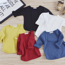 2-7Y Boys T-shirt Kids Tees Baby Boy shirts cardigan blouse jacket Solid color Children's clothing boy Long Sleeve 100% Cotton