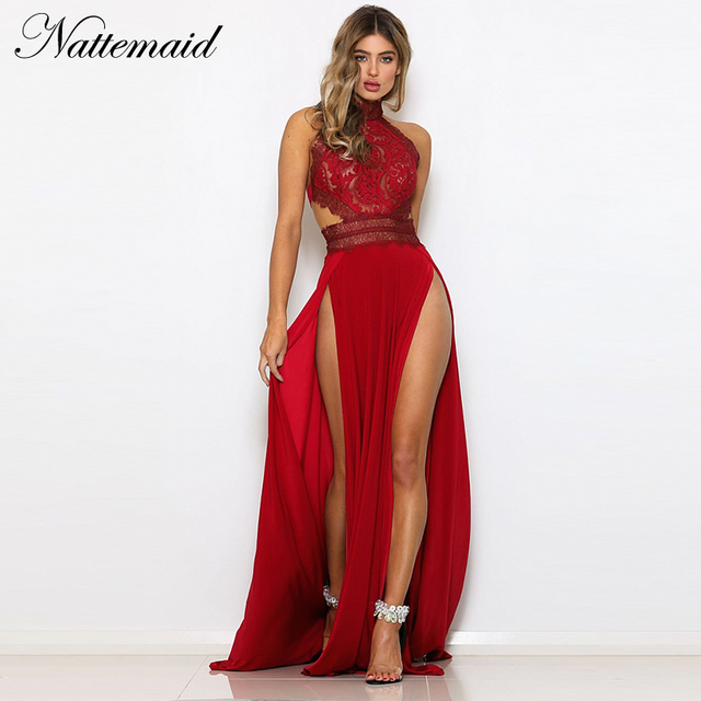 NATTEMAID Red Black Maxi Long Sexy Dress Lace Floral Zipper Hollow Out Dress  Female Backless Elegant Party Vestidos Summer 2019 0160b2c99ca5